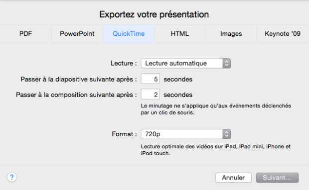 Exportation en Quick Time