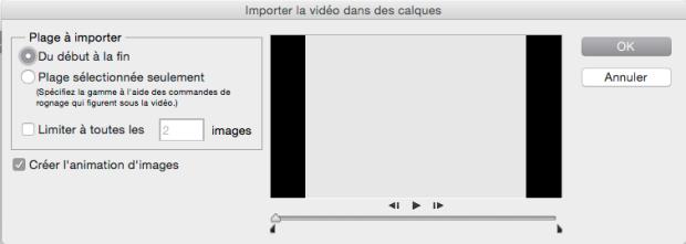 Importation d'images vidéos