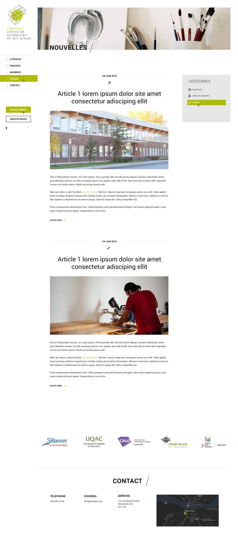 Page de blogue - Ateliers ToutTout